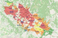 La cartina con i 15 Comuni interessati e la suddivisione in aree. Scandicci è area arancio