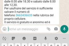 Schermata del servizio WhatsApp di Punto Comune