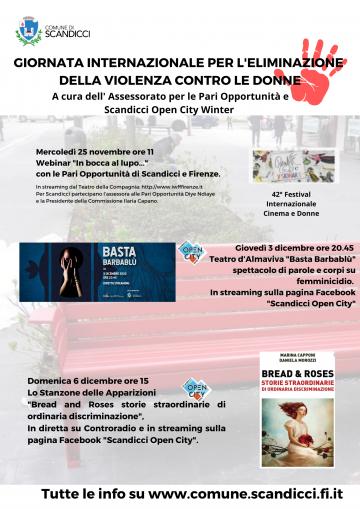 Il programma delle iniziative per la Giornata internazionale per l'eliminazione della violenza contro le donne