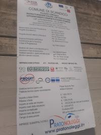Il cartello di cantiere al Municipio di Scandicci
