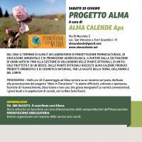 La locandina dell'iniziativa con Alma Calende