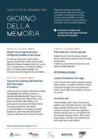 La locandina con il programma del Giorno della Memoria 2021 a Scandicci