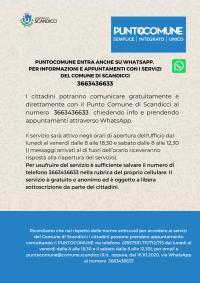 La locandina sul servizio WhatsApp per il Punto Comune