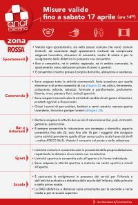 Le misure anticovid per la zona rossa valide fino alle 14 del 17.4 (sintesi di Anci Toscana)