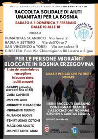La locandina per la raccolta di aiuti umanitari per la Bosnia